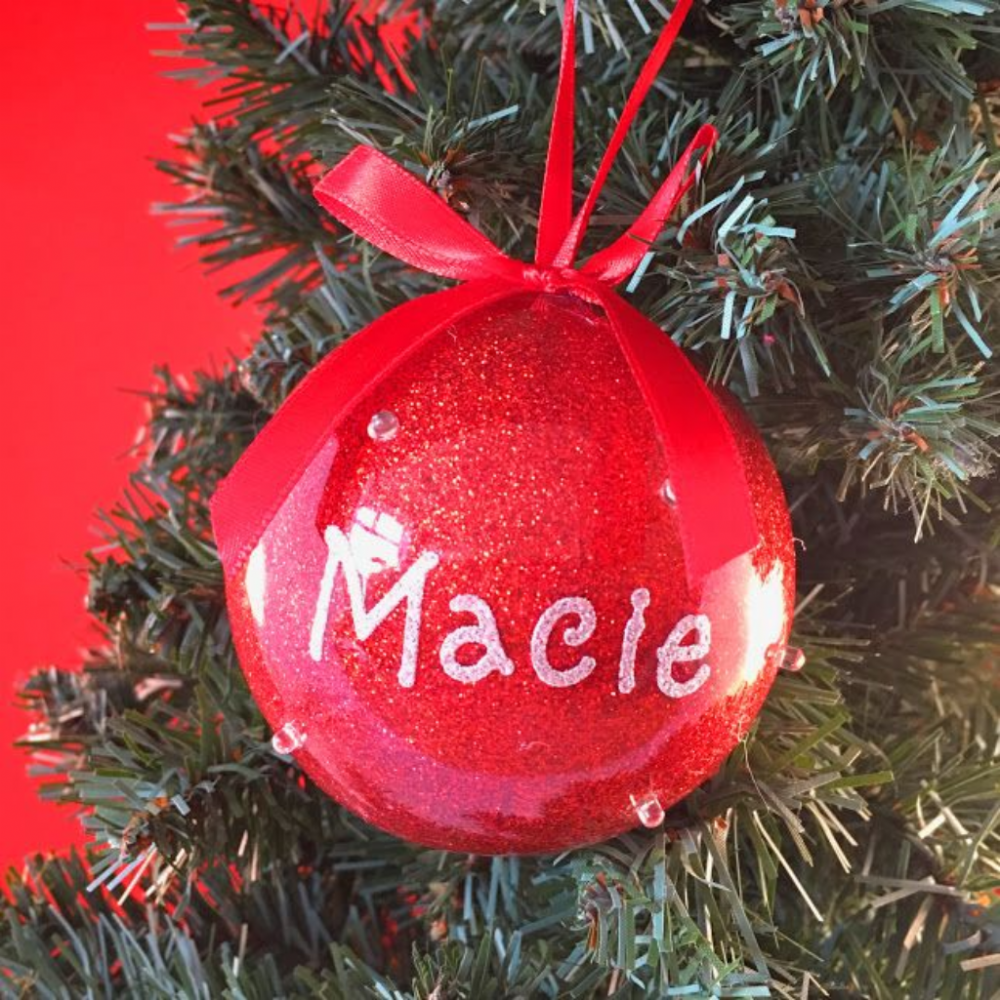 Bauble - Red with LED Lights - Personalised